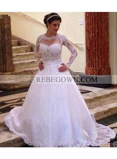 2021 Classic A Line Long Sleeves Lace Wedding Dresses