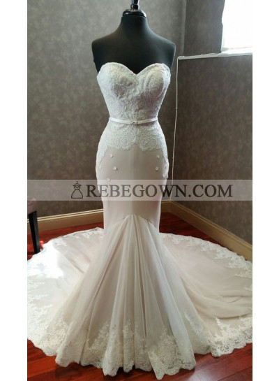 Mermaid  Sweetheart Lace Long Train 2020 Wedding Dresses
