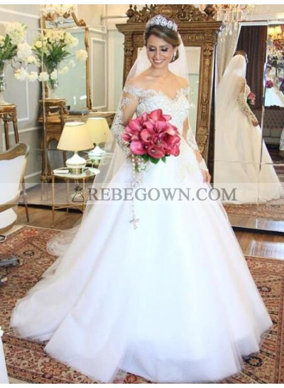 2020 Elegant A Line Off The Shoulder Long Sleeves Wedding Dresses