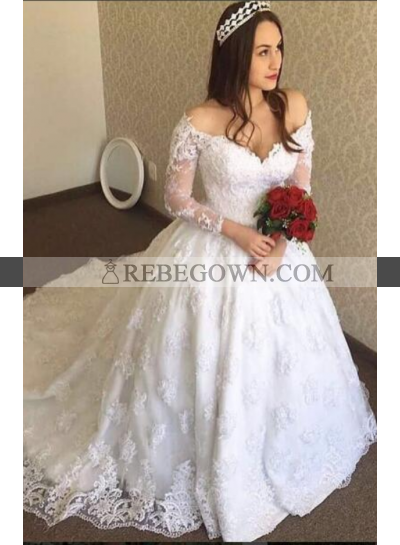 Classic A Line V Neck Long Sleeves 2021 New Wedding Dresses