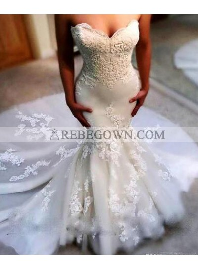 Sexy Mermaid  Sweetheart 2020 Wedding Dresses With Appliques