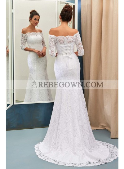 Adorable Sheath Off The Shoulder Long Sleeves Lace Wedding Dresses 2021