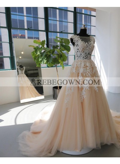 2021 New Arrival A Line Long Train Tulle Wedding Dresses With Appliques