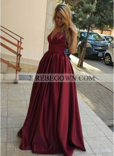 2021 Cheap A-Line Satin Burgundy Prom Dresses