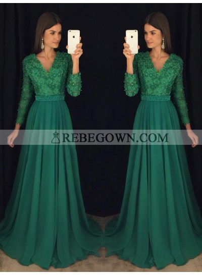 2021 Chiffon A-Line Hunter V Neck Long Sleeves Prom Dresses