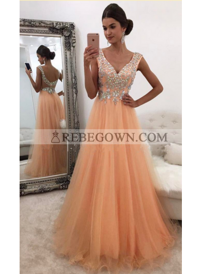 Cheap A-Line Tulle Organza V Neck 2021 Prom Dresses