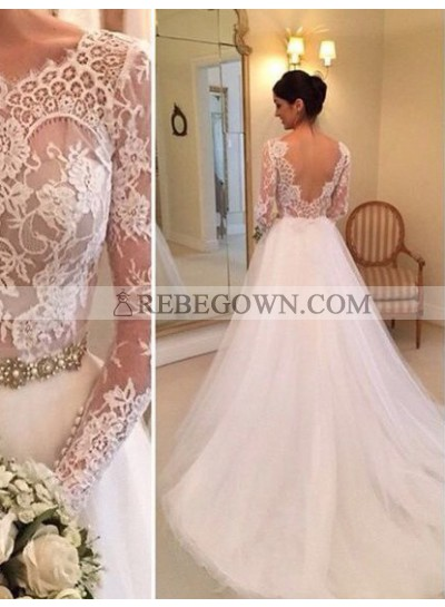 2021 Nice A Line Long Sleeves Backless Lace Wedding Dresses