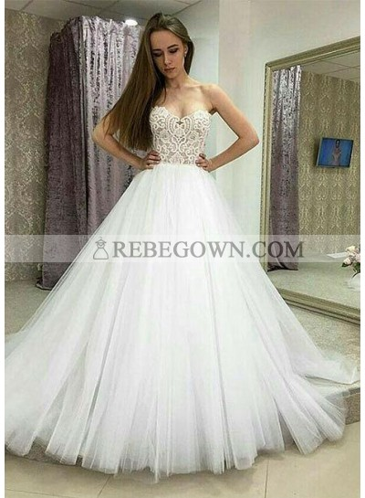 Cheap 2021 A Line Strapless Tulle White Wedding Dresses