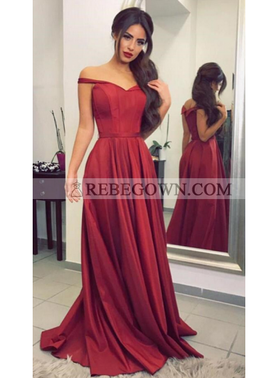 A-Line Burgundy Satin 2021 Off The Shoulder Prom Dresses