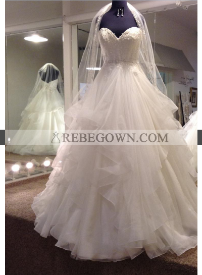 2021 New Arrival A Line Sweetheart Organza Ruffles Beaded Wedding Gown