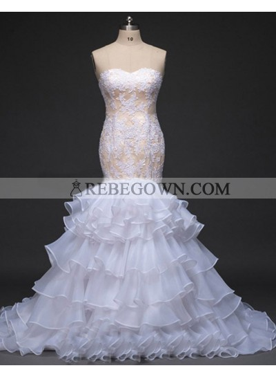 Mermaid  Sweetheart Organza Lace Ruffles Wedding Dresses 2021