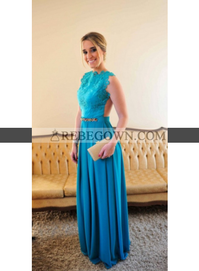 2021 A-Line Satin Backless Prom Dresses With Appliques