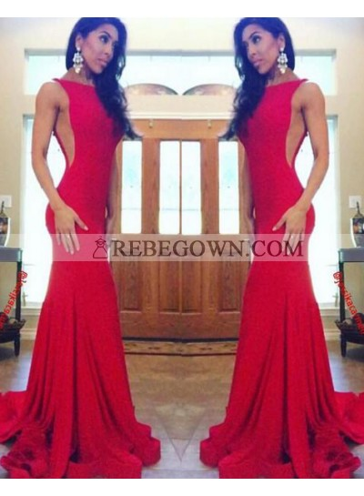 2021 Sexy Trumpet/Mermaid  Red Satin Prom Dresses