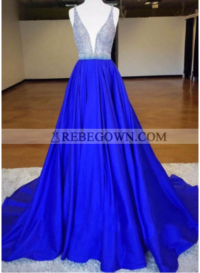 A-Line Royal Blue Satin 2021 Prom Dresses