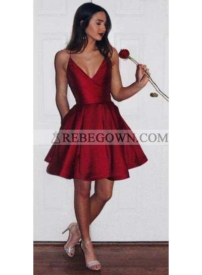 Cute A-Line Satin Red Knee Length V Neck Short 2021 Prom Dresses
