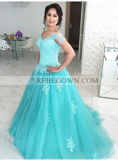 Tulle Sweetheart Capped Sleeves Ball Gown 2021 Prom Dresses