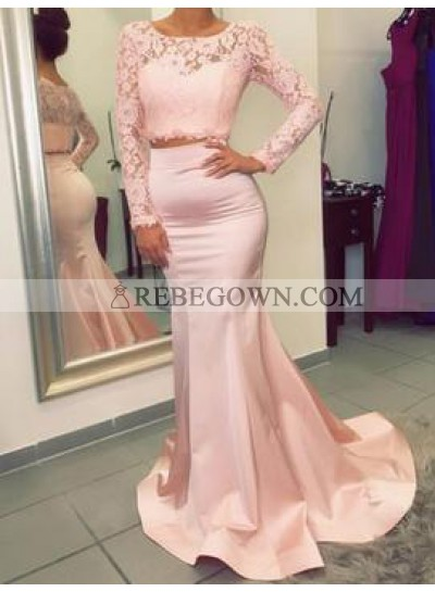 Charming Trumpet/Mermaid  Satin Two Pieces Long Sleeves 2020 Prom Dresses