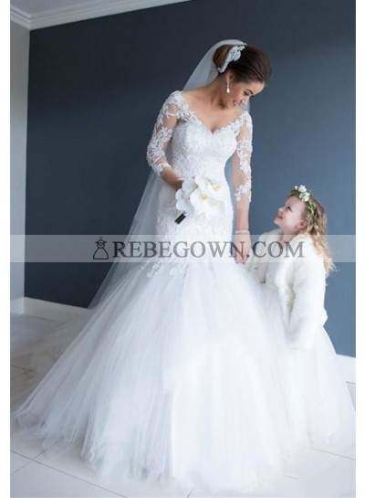 2021 Mermaid  White V Neck Long Sleeves Tulle With Appliques Wedding Dresses