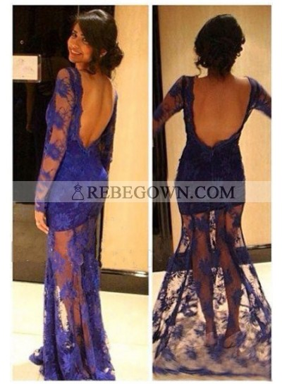 2021 New Arrival Sheath Purple Lace Long Sleeves Prom Dresses