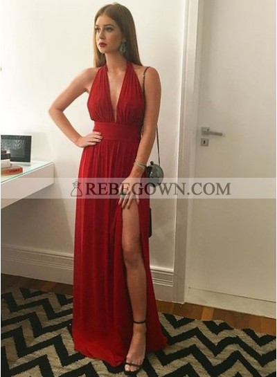 Cheap A-Line Red Chiffon Side Slit 2021 Prom Dresses