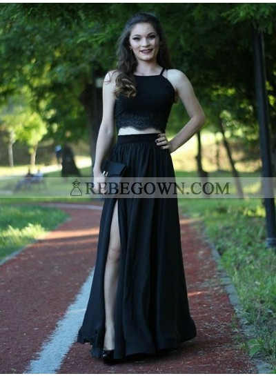 2021 Cheap A-Line Side Split Black Two Pieces Prom Dresses