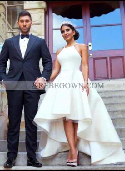 2021 Cheap A Line Satin Plain High Low Short Wedding Dresses
