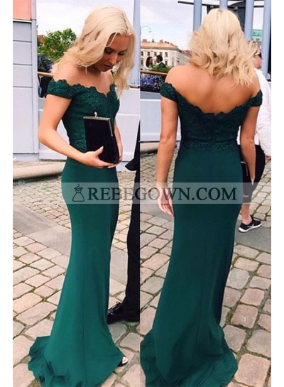 2021 Sheath Dark Green Off The Shoulder Satin Prom Dresses