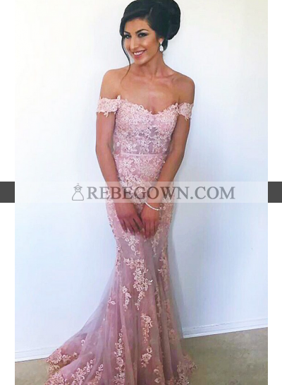 Trumpet/Mermaid  Off The Shoulder Pink 2021 Prom Dresses With Appliques