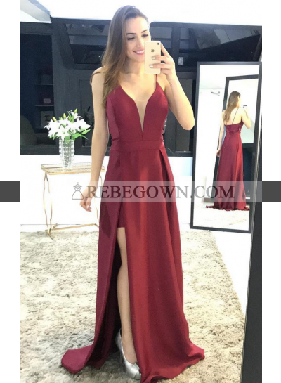 Cheap A-Line Satin Burgundy 2021 Prom Dresses