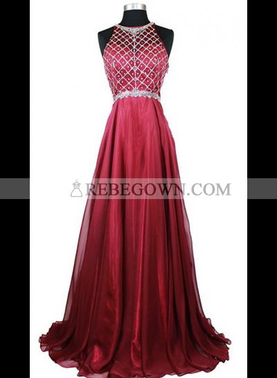 Cheap A-Line Chiffon Burgundy Beaded 2020 Prom Dresses