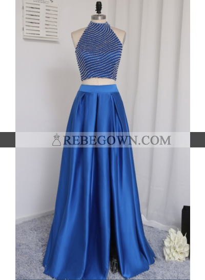2021 New A-Line Satin Royal Blue Two Pieces Prom Dresses