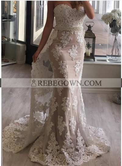 New Arrival Sheath Sweetheart Tulle With Appliques Champagne 2021