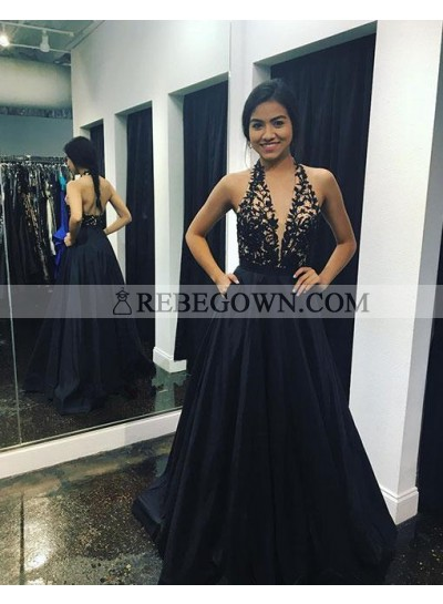 A-Line Black Halter Backless Prom Dresses With Appliques 2020