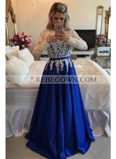 2020 New Arrival A-Line Satin Royal Blue With White Appliques Long Sleeves Prom Dresses