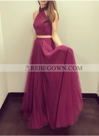Cheap A-Line Tulle Burgundy Two Pieces 2021 Prom Dresses