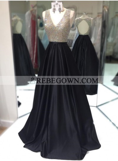 Elegant A-Line Satin Black Beaded V Neck 2020 Prom Dresses