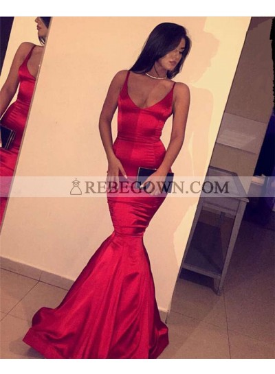 Sexy Trumpet/Mermaid  Red 2021 Satin Prom Dresses