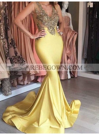 2020 Gold Trumpet/Mermaid  Satin Prom Dresses Beaded