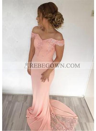 Peach 2020 Satin Off The Shoulder Satin Prom Dresses