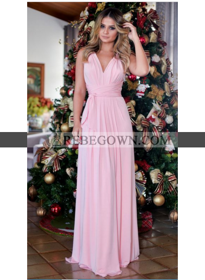 A-Line Chiffon V Neck Pale Pink 2021 Prom Dresses