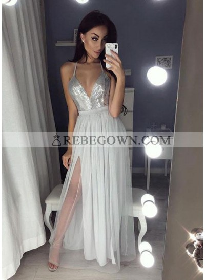Cheap A-Line Silver Side Slit Sweetheart Tulle 2021 Prom Dresses