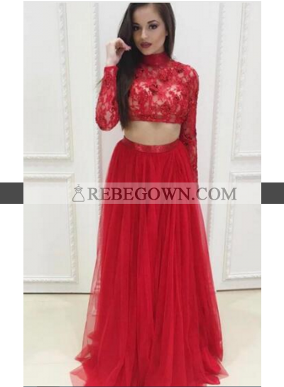 Red A-Line Long Sleeves Two Pieces Tulle Prom Dresses 2021