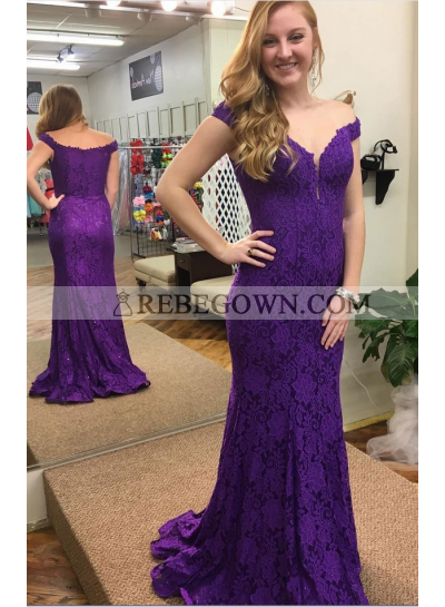 Charming Sheath Purple Off The Shoulder Lace 2020 Prom Dresses