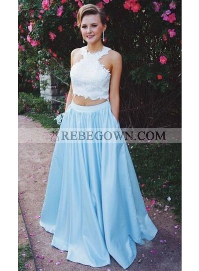 2020 New Arrival A-Line Satin Blue Two Pieces Prom Dresses