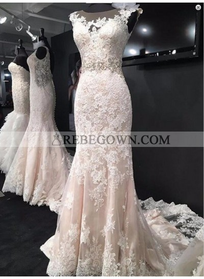 Attractive Sheath Tulle With Appliques 2021 Wedding Dresses