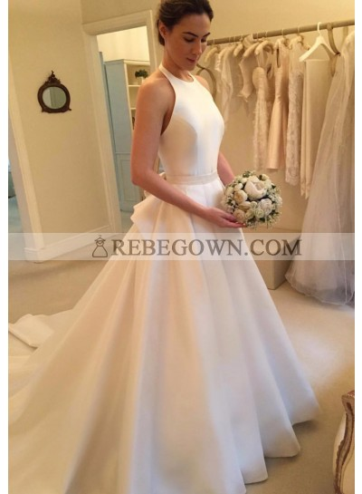 2021 Elegant A Line Satin Long Train Plain Wedding Dresses