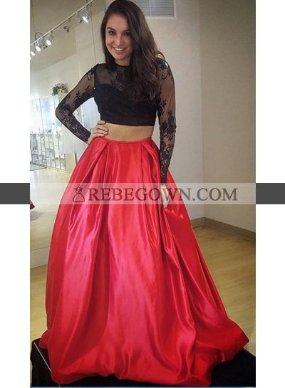 2021 Charming A-Line Satin Black With Red Two Pieces Long Sleeves Prom Dresses