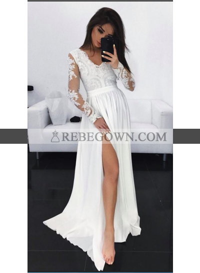 Cheap A-Line Chiffon Long Sleeves V Neck White Prom Dresses 2021