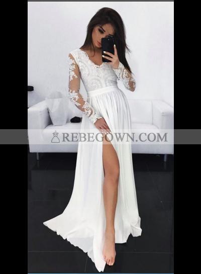 Cheap A-Line Chiffon Long Sleeves V Neck White Prom Dresses 2020