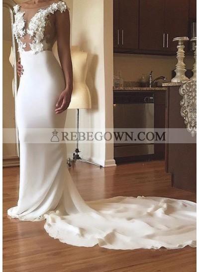 2021 Sheath Chiffon Sweep Train With Appliques Wedding Dresses